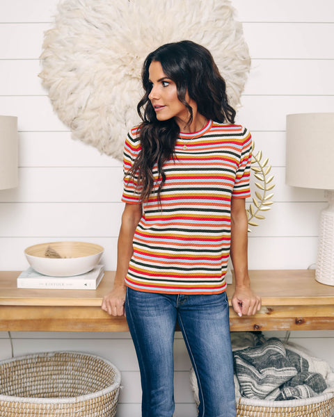 Stay Beautiful Knit Striped Top - FINAL SALE