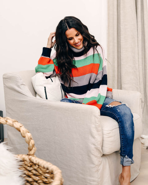 Made To Love Striped Knit Turtleneck Sweater