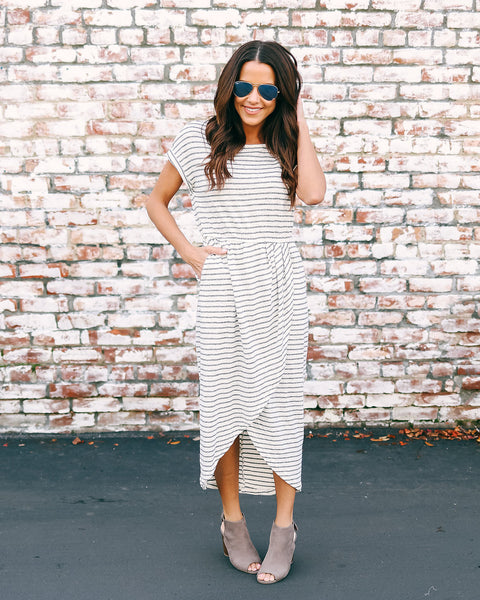 West Village Pocketed Striped Knit Dress - Ivory