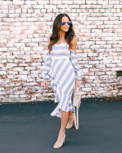 Debonair Off The Shoulder Striped Dress