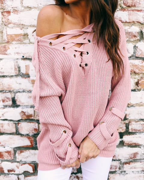 Julian Lace Up Knit Sweater