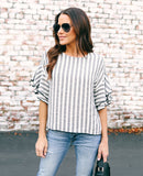 Locklyn Striped Blouse - Black