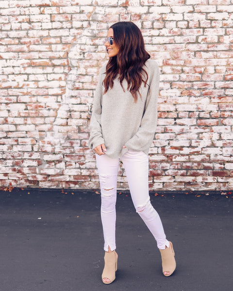 Staycation Knit Sweater - Heather Grey