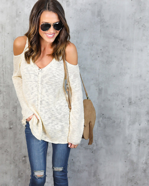 Angelic Cold Shoulder Knit Sweater - Cream - FINAL SALE