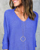 High Volume Knit Sweater - Royal Blue - FINAL SALE