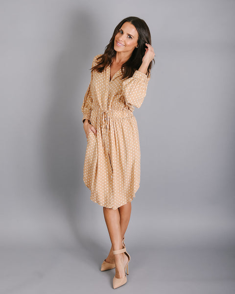 Vienna Pocketed Polka Dot Drawstring Dress - Taupe