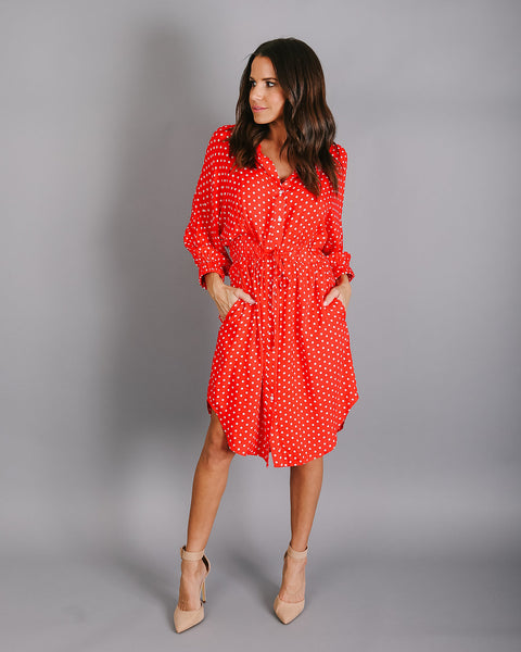 Vienna Pocketed Polka Dot Drawstring Dress - Red