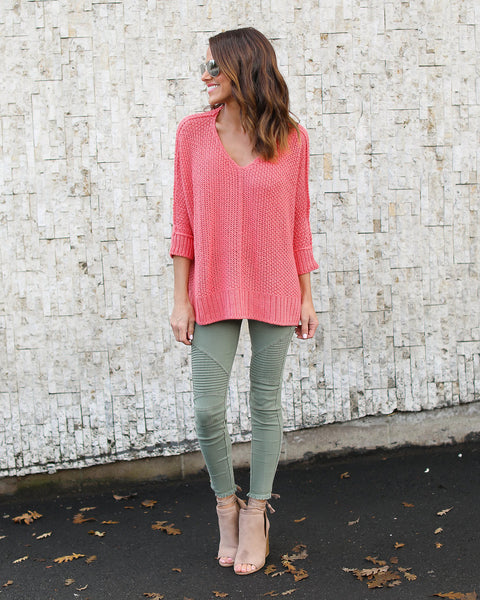 High Volume Sweater - Light Coral - FINAL SALE