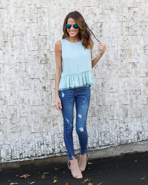Pirouette Embroidered Peplum Top  - Mint - FINAL SALE