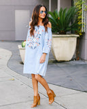 Hummingbird Pocketed Chambray Dress - FINAL SALE