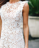 Beating Heart Crochet Lace Dress - White - FLASH SALE
