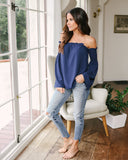Ibiza Off The Shoulder Top - Navy