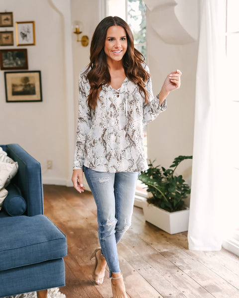 Boa Lace Up Blouse