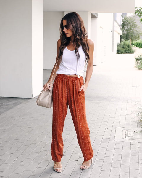 Spiced Chai Printed Pocketed Pants