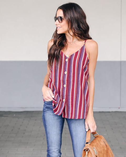 Yalla Button Down Cotton Tank - Burgundy