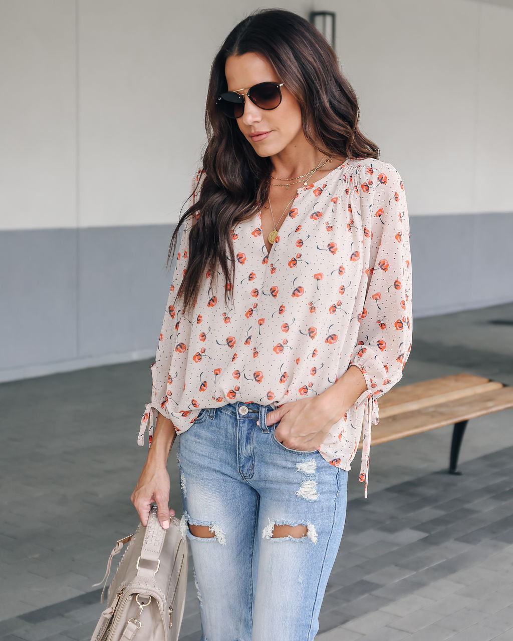 ff9c8297445d30 Picking Poppies Printed Blouse - Taupe - FINAL SALE – VICI