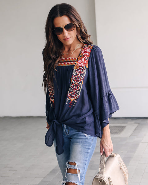 Gypsy Soul Embroidered Tie Blouse - Navy