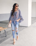 Gypsy Soul Embroidered Tie Blouse - Denim - FINAL SALE