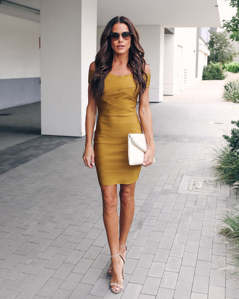 Feeling Fabulous Bandage Bodycon Dress - Dijon - FINAL SALE