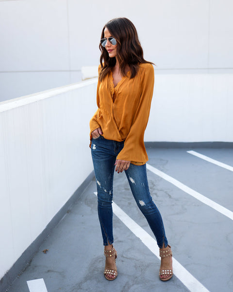 Charmeuse Lace Bell Sleeve Blouse - Mustard