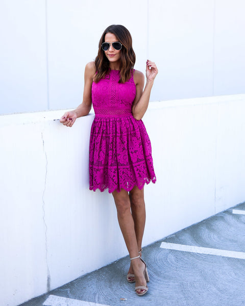 Storybook Lace Dress - Magenta