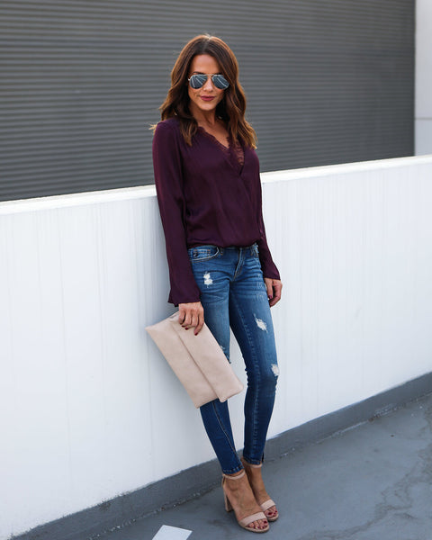 Charmeuse Lace Bell Sleeve Blouse - Plum