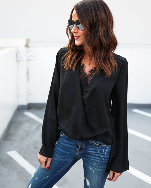 Charmeuse Lace Bell Sleeve Blouse - Black