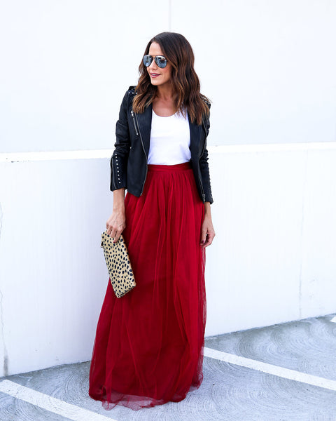 Tulle For You Maxi Skirt - Burgundy