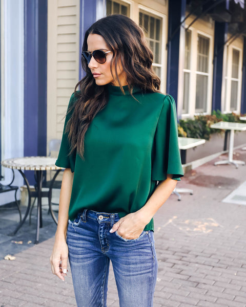 Debutant Satin Mock Neck Blouse - Hunter Green