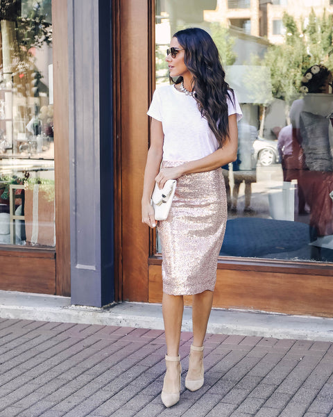 Sparkle Sequin Pencil Skirt - Rose Gold