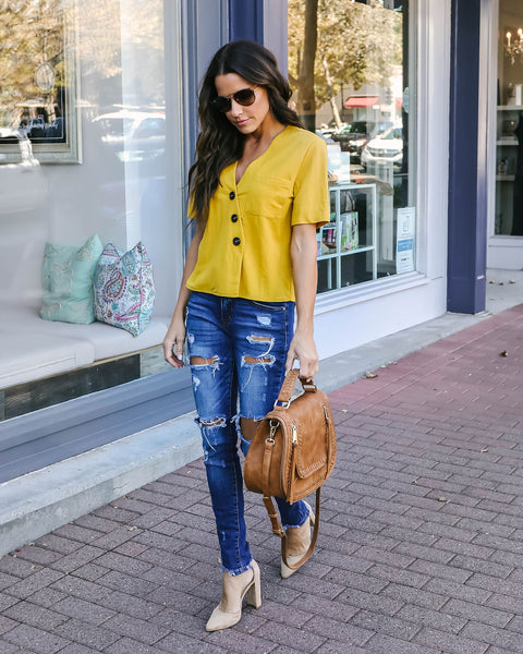 Winona Button Down Pocket Top - Dark Mustard