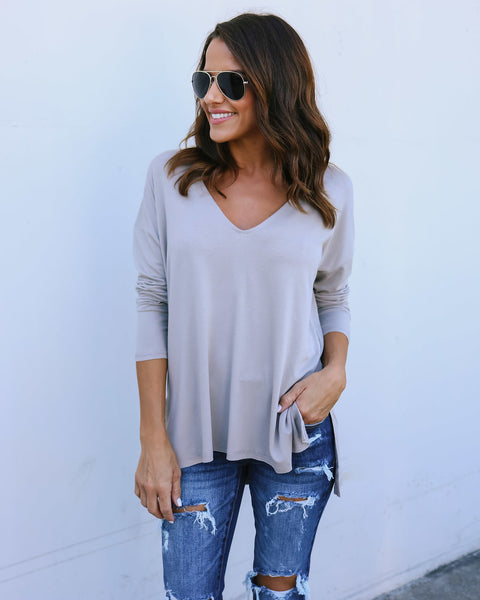 Clarity Long Sleeve Top - Stone