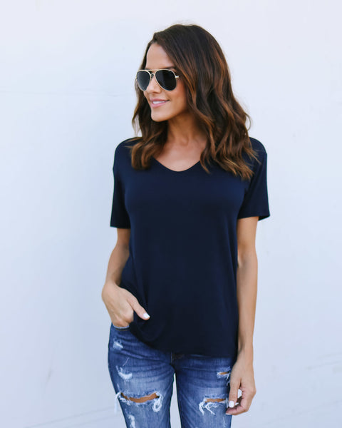 Simplici-Tee Top - Navy - FINAL SALE