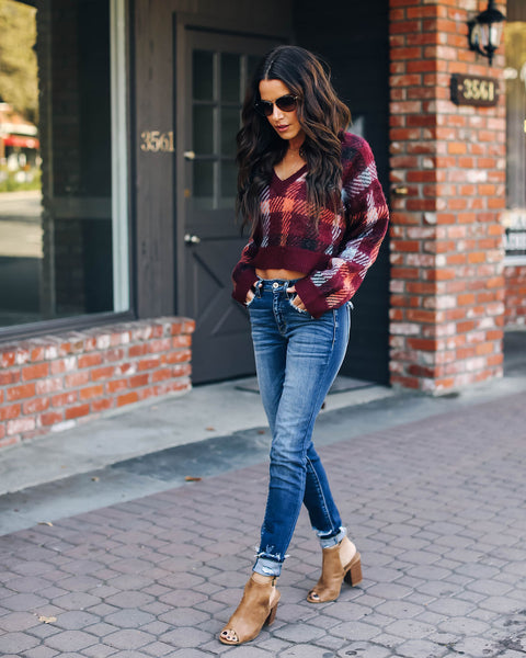 Broderick Plaid Crop Sweater - FINAL SALE