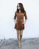 Jameson Pocketed Faux Suede Drawstring Dress - Camel