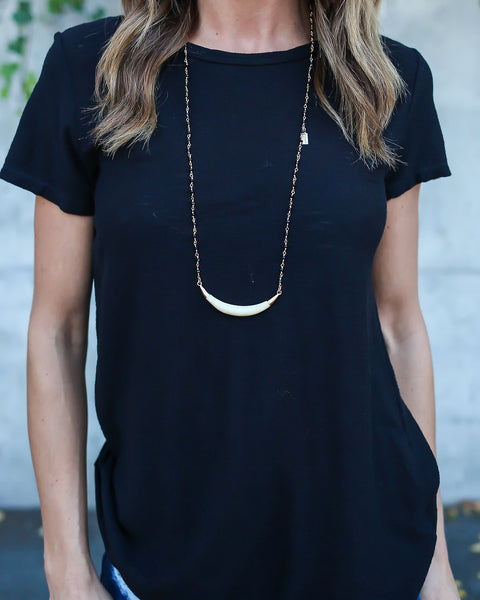 MEGHAN BO DESIGNS - Black Rosary Tusk Necklace