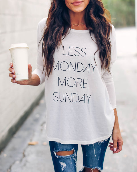 Less Monday More Sunday Long Sleeve Knit Top