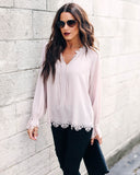 Cole Laser Cut Peasant Blouse - Blush