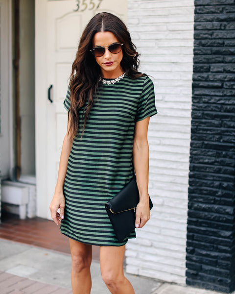 Polo Fields Striped Pocketed Shift Dress