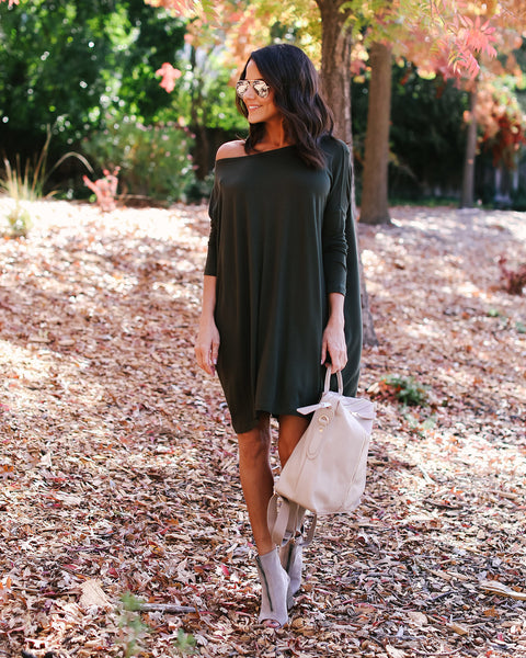 Piko Jersey Dress - Dark Olive
