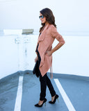 Faye Faux Suede Pocketed Trench Coat - Camel