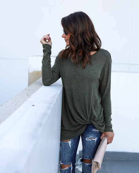 Knot Going Home Knit Top - Olive