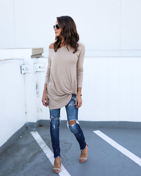 Knot Going Home Knit Top - Taupe