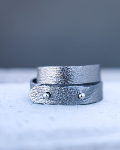 MARRIN COSTELLO - Two In One Leather Wrap Bracelet - Gunmetal - FINAL SALE