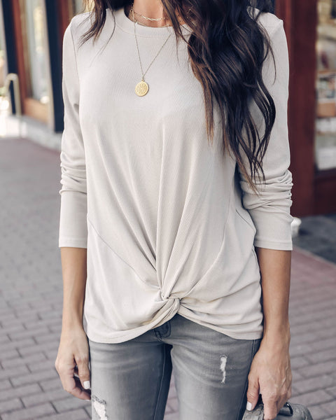 Arrabelle Ribbed Long Sleeve Twist Top - Taupe