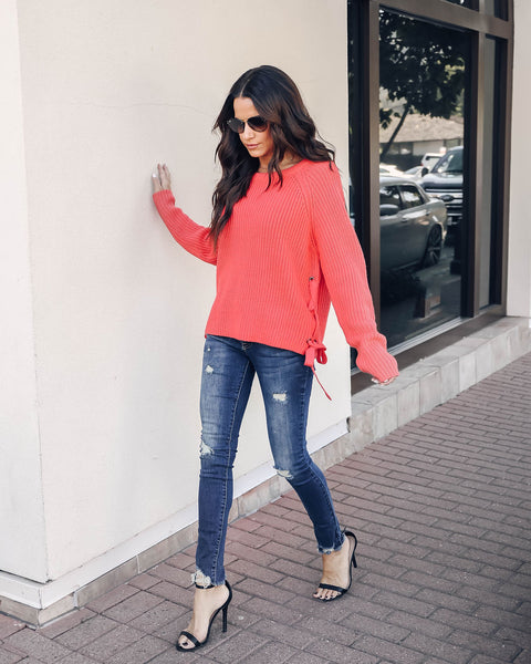 Enchanté Lace Up Knit Sweater - Coral