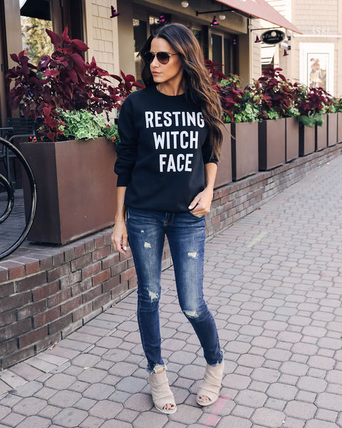 Resting Witch Face Cotton Blend Sweatshirt