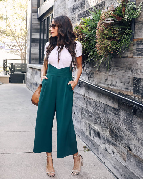 Pixie Pocketed Ankle Overalls - Hunter Green - FINAL SALE