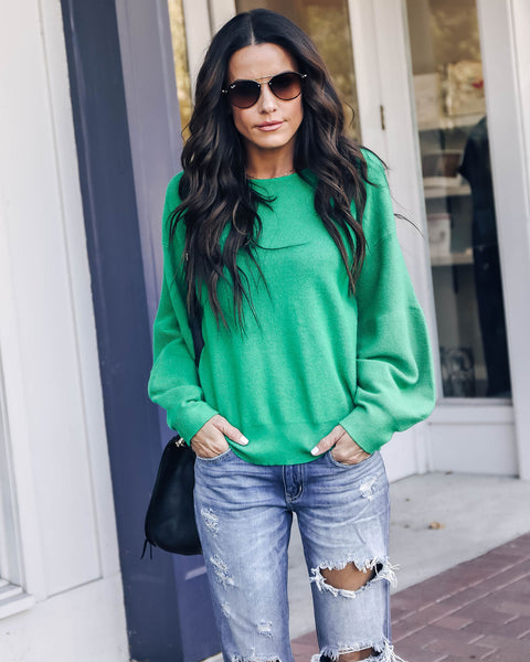 Bungalow Balloon Sleeve Sweater - Kelly Green