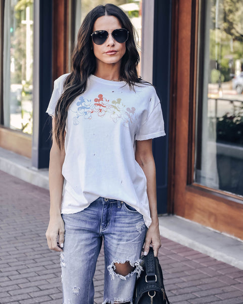 Mickey Mouse Distressed Cotton Tee